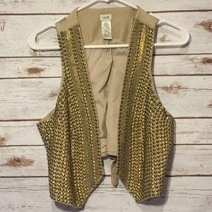 Cache Gold Metal Beaded Studded Vest Size 8 EUC
